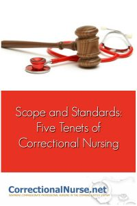 These five tenets of correctional nursing practice are identified in all nursing specialties and here applied to our practice in the criminal justice system.